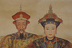 Chinese ancestor dignitaries family on paper Emperor of Qing dynasty