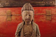 Small Chinese wooden statue and Buddha Statue