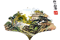 Chinese painting on tree leaf