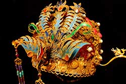 Old Chinese Golden Theater Headdress - Semi Precious Stone